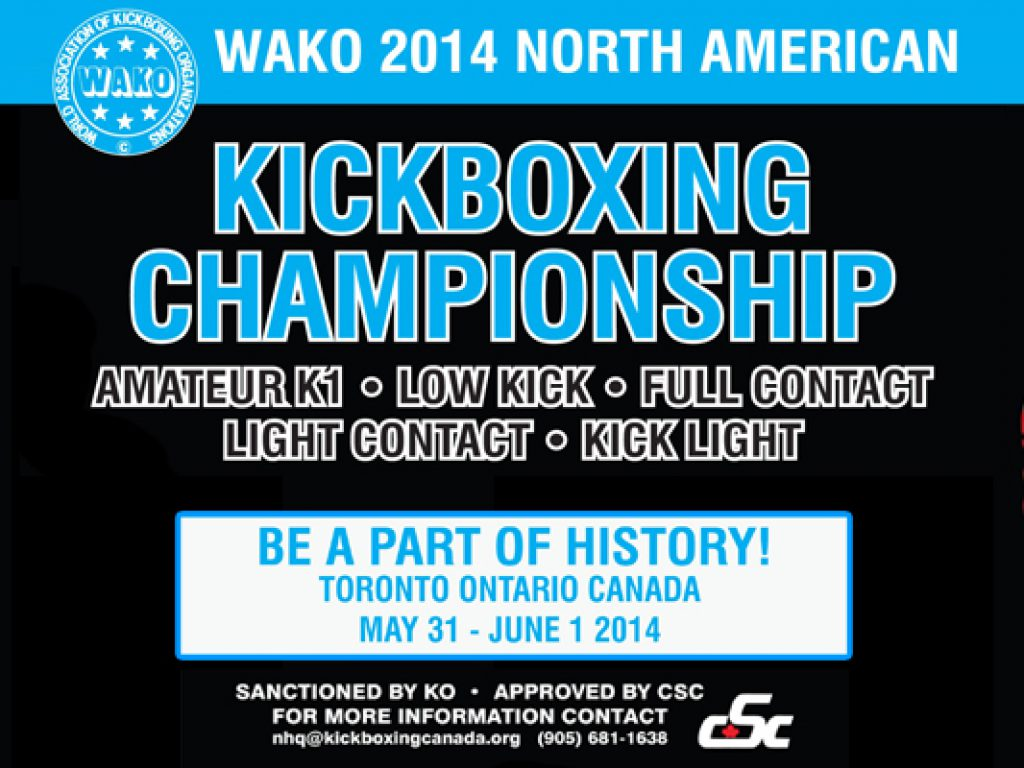 WAKO North American Tournament Scheduled for May 31 – June 1 in Toronto, Canada